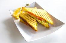 Salmon sandwich sliced