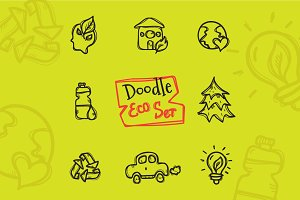 8 Doodle Icons. Ecology