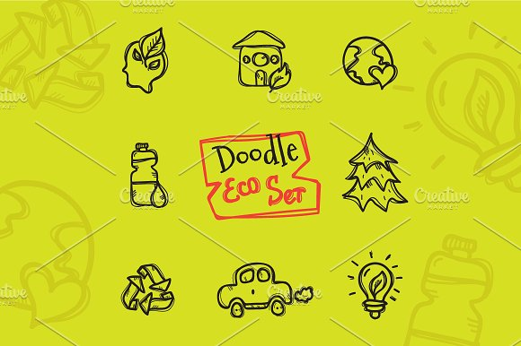 8 Doodle Icons. Ecology - Icons