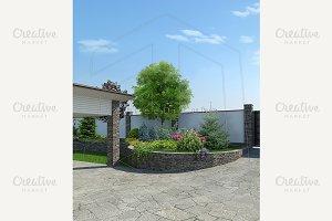 Front yard landscaping, 3d render