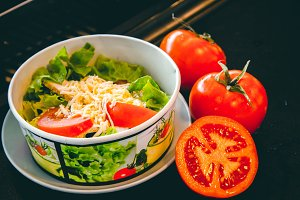 Salad box with tomatoes