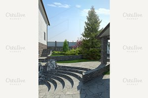 Patio terraced landscaping