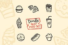 8 Doodle Icons. Fast Food