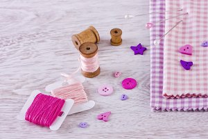 Sewing kit with fabrics and buttons