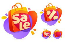 Shopping bag icon and Sale tag