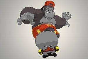 Funny monkey on skateboard