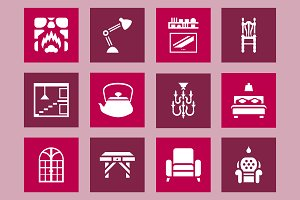 Furniture & interior design icon set