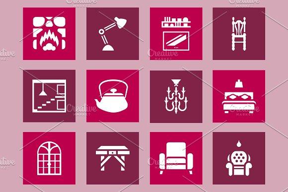 Furniture Interior Design Icon Set