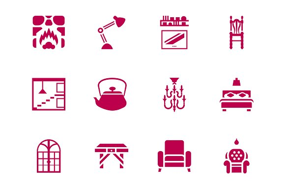 Furniture Interior Design Icon Set Icons Creative Market