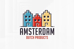 Amsterdam Houses Logo Template