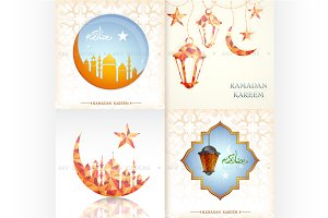 Ramadan Kareem greeting cards set