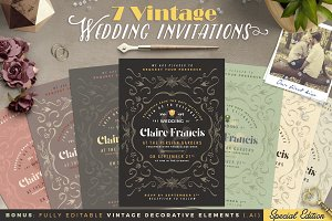 7 Vintage Deco Wedding Invitations I