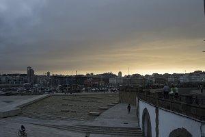 Dusk in the port of La Coruna