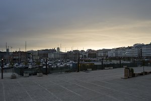 Dusk in the port of La Coruna