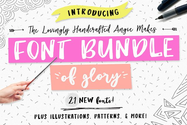 Angie Makes Font Bundle of Glory