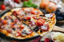 Delicious sausage pizza
