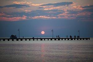 Beautiful sunset under pier