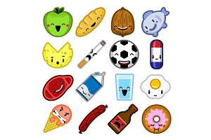 Cartoon vector food characters set