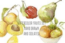 Watercolor Hand drawn fruits set