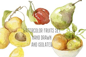 Watercolor Hand drawn fruits set