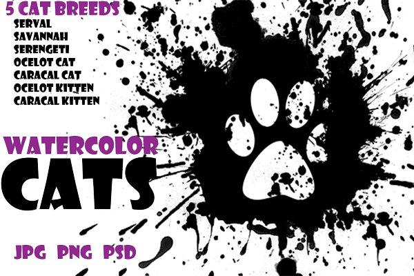Watercolor Animals Set - WILD CATS