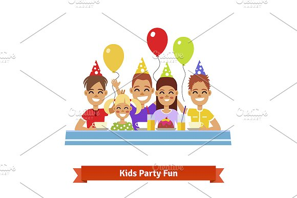 Group of kids at birthday party in Illustrations
