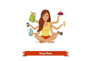 Busy multitasking woman
