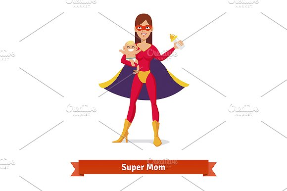 Super mother holding son