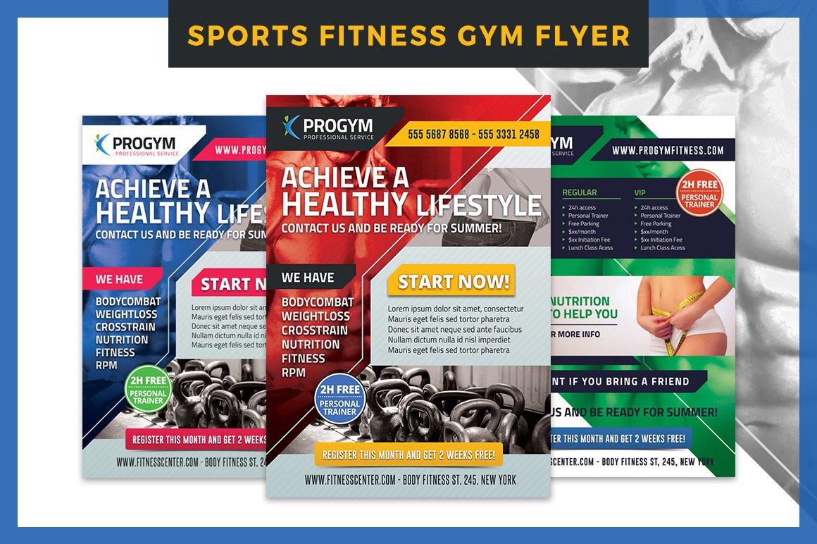 Sports Fitness Gym Flyer Template Flyer Templates Creative Market
