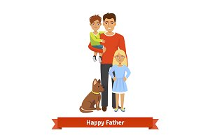 Father with son, daughter and dog