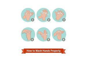 Hands washing medical instructions