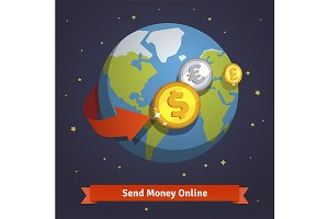 Send money online concept