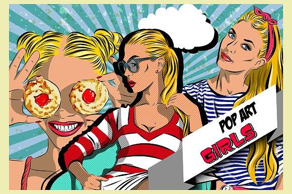 Pop art women set. Comics - Illustrations