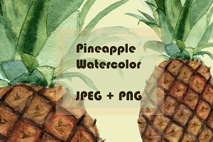 Watercolor Pineapple Clipart & Print