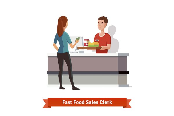 Sales clerk at fast food restaurant