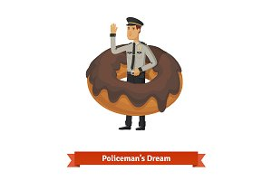 Cartoon policeman's dream