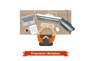 Software programmer typing code