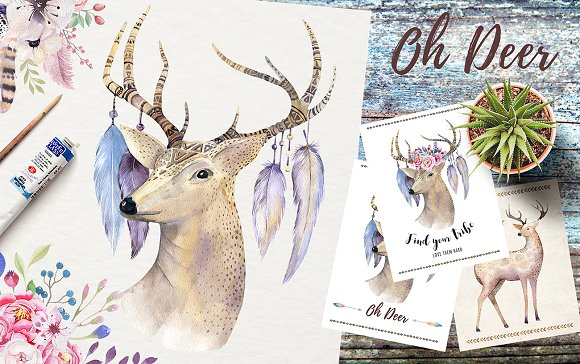 Watercolor deer and horns. Bohemian - Illustrations