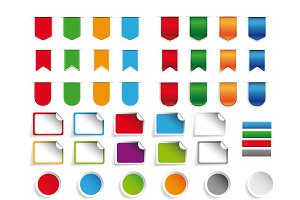 Ribbons, stickers a label set vector
