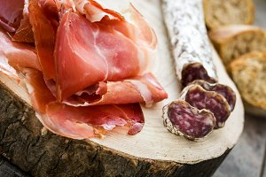 Spanish serrano ham and sausages