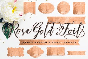 Rose Gold Foil Ribbon & Label Shapes