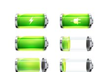Set of glossy battery icons on white
