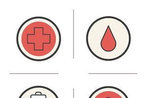 Blood donation icons. Vector