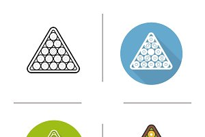 Billiard balls rack icons. Vector