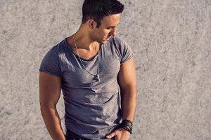 model man wearing grey t-shirt
