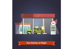 Gas station glowing at night