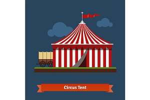 Open circus striped tent