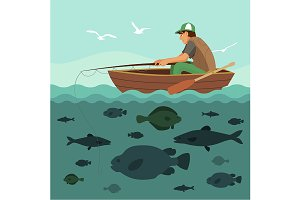 Man fishing on the boat