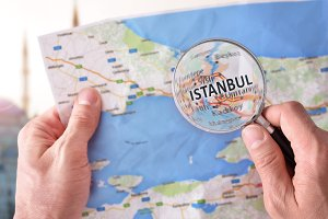 Man consulting Istanbul map