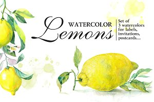 "Set Watercolor ""Lemons"""